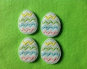 CHEVRON EASTER EGG Felt Embellishment - Machine Embroidered Embellishment /  Applique - Set Of 4 ~ Ready To Ship ~ Available Cut Or Uncut