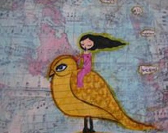 Fly Away and Chase all your Dreams- mixed media art print