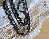 Venice Lace Trim -11 Yards Black Flower Lace Trim (L637)