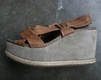 SALE Vtg 90s Italian Suede Leather Platform Wedge Pump Sandals Made in Italy Size 7.5 8 38 MANAS
