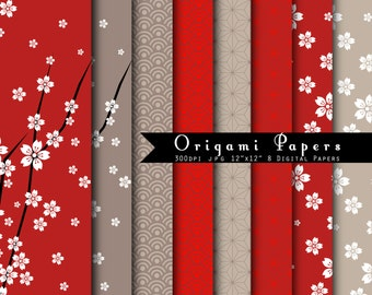Origami Papers-  INSTANT DOWNLOAD Japanese Origami Papers Digital Paper Set