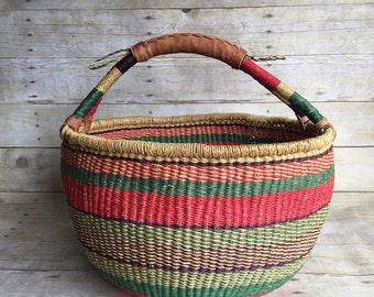 Large Vintage Basket - African Market Woven Basket