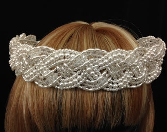 Vintage white braided faux pearl and bead crown- perfect for your wedding day or formal celebration!