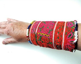 Vintage Wrist Cuff, Tribal Wallet with Zazi Hand Embroidery and Beaded Fringe from Afghanistan