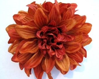 Variegated Orange Dahlia Poly Silk Flower Brooch Pin