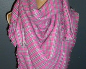 Plaid Blanket Scarf, Oversized Plaid Scarf, Wrap Scarf, Flannel Woven Cotton Scarf, Fashion Scarf, Womens Scarves - Hot Pink Plaid