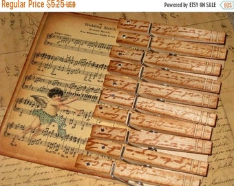 Christmas in July Vintage French Script Clothespins Hand Stamped French Script