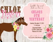 Cowgirl Horse Shabby Chic Party Invitation, Floral, doily, wood, pink, yellow, brown