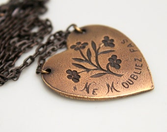 French Forget Me Not Necklace - Vintage Heart Pendant - Love Token