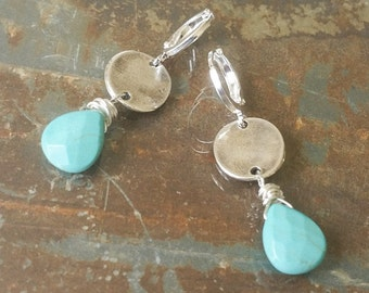 Silver Turquoise Disc Earrings