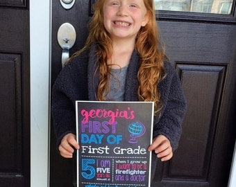 Print Your Own - First Day of School Chalkboard Sign, Style 2