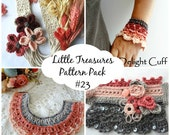 CROCHET PATTERN  Cuff and Necklace Patterns Discount Pack #23,crochet roses,crochet cuff bracelet, tribal necklace, string flowers,boho