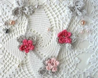 Crochet Flower Necklace #4 crochet necklace,flower necklace,mori necklace, romantic, bohemian,shabby chic,