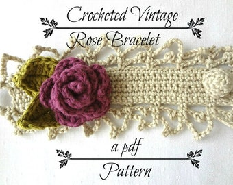 CROCHET PATTERN Vintage Rose Bracelet PDF Pattern - photo tutorial, crochet pattern, crocheted bracelet, corsage, headband