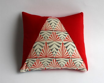 Cushion cover red triangle, hand printed fabric, scandinavian design inspired, geometric pattern, limited edition, cotton