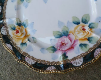 Nippon Roses Plate. Vintage Antique 1800s 1900s. Hand Painted Pink Yellow Roses. Gold Beaded Moriage. Cottage, Shabby Chic, Victorian Decor.