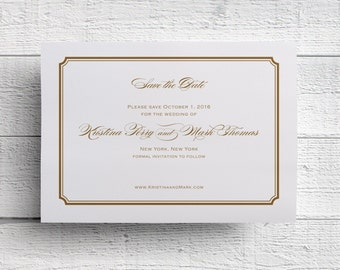 Gold Save the Date Simple Save the Date - Sample