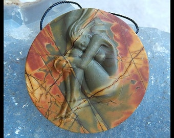 New Design,Gemstone Collection Multi Color Picasso Jasper Carving,Gemstone Pendant,39x8mm,20.3g