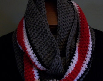 State of Ohio Scarf Infinity Scarlet and Gray Infinity Hand Crocheted