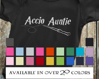 Auntie Onesie, Harry Potter Auntie Onesie, Funny Harry Potter Onesie - Accio Auntie, Baby Clothes from Auntie, baby gift from aunt