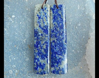 SALE,Lapis Lazuli Gemstone Earring,48x10x4mm,12.25g