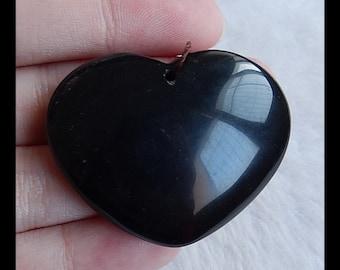 Rainbow Obsidian Heart Gemstone Pendant Bead,34x42x12mm,22.38g