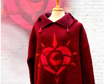 Red oversized poncho style hoody , wool sweater with a tale, poncho-pullover with hoody, women poncho hoody