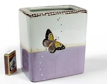 Exquisite Signed Artist Vase Fabienne Jouvin Paris Studio Design Butterfly / Moth Motif 1999
