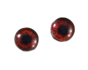 8mm Dark Brown Glass Doll Eye Cabochons - Evil Eyes for Jewelry Making or Sculptures - Set of 2