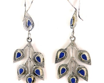 Earrings Silver Lapis Insets Afghanistan 104130 SALE WAS 25