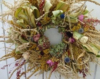 Autumn Harvest Wreath  Corn Leaf Wreath  Fall Wreath  Natural Wreath  Floral Wreath  Corn Leaves  Hydrangea Wreath Large Wreath