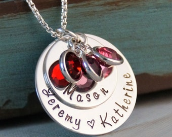 Hand Stamped Mommy Necklace- Sterling Silver Personalized Jewelry - My Family Medium Stack