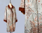 1920s Coat / 20s SILVER and Copper Metallic Lamé Flapper Opera Coat / Metallic Lamé Embroidery / Rust Velvet / Chinoiserie / Abstract