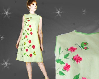 60s A-Line Dress - Vintage Pink and Neon Green Summer Shift with Belt - NOS Mint