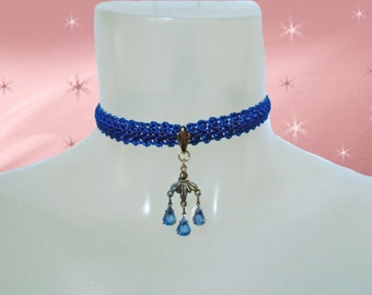 Vintage Fabric Choker - OOAK Choker Necklace with Vintage Rhinestone Pendant - Royal Blue