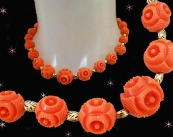 Orange Beaded Choker - 50s Vintage Choker - Short Necklace - Orange Beaded Necklace - Retro Orange Beads - Orange Necklace - FUNKY Beads