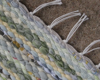 Handwoven  vintage look, rag rug -2.26' x 2.98' , light green, light yellow, white, ready for sale