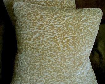 Nancy Corzine Cut Silk Velvet Fabric Custom Designer Throw Pillows New Beige Set of 2