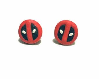 Polymer Clay Deadpool Earrings, Marvel comics Stud earrings, marvel deapool jewelry