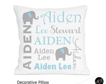 Blue and gray elephant name pillow for Baby Boy, personalized baby gift, pillow, baby pillow, name pillow, nursery throw pillow case