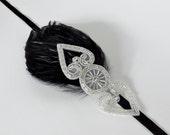 Silver Headbands for 1920s Dresses, Flapper Dress Headpiece, Silver Beaded Headband, 1920s Flapper Headband, Black Feather Headband