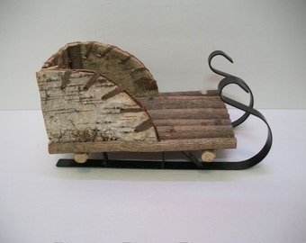 Craft Supplies, Christmas Crafts, Rustic Wood Santa Sleigh, Rustic Christmas Crafts, Shabby Chic Santa Sleigh, Wood Log and Metal Sleigh