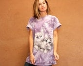 vintage 90s CAT purple tie dye t shirt