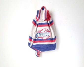 vintage 90s LA CLIPPERS vintage los angeles BACKPACK day pack book bag vintage bag