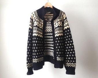 woolrich style COWICHAN 60s wool nordic sweater EUROPEAN cardigan