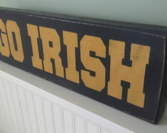 Go Irish Freestanding Wood Block in Distressed Finish
