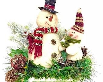 Snowman Arrangement Winter Christmas Centerpiece Custom Designed in Decorative Stoneware
