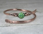 Hammered Copper Wire Bangle With Green Jasper Stone, Antiqued Copper Bangle, Arrow & Heart Bracelet