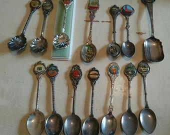 Vintage Collectible Souvenir Spoons.  Silver Plate Souvenir Spoons. Set of 14 Spoons