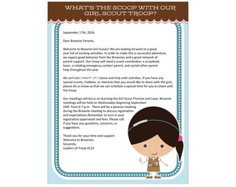 Brownie Girl Scout Letterhead - Printable Instant Download